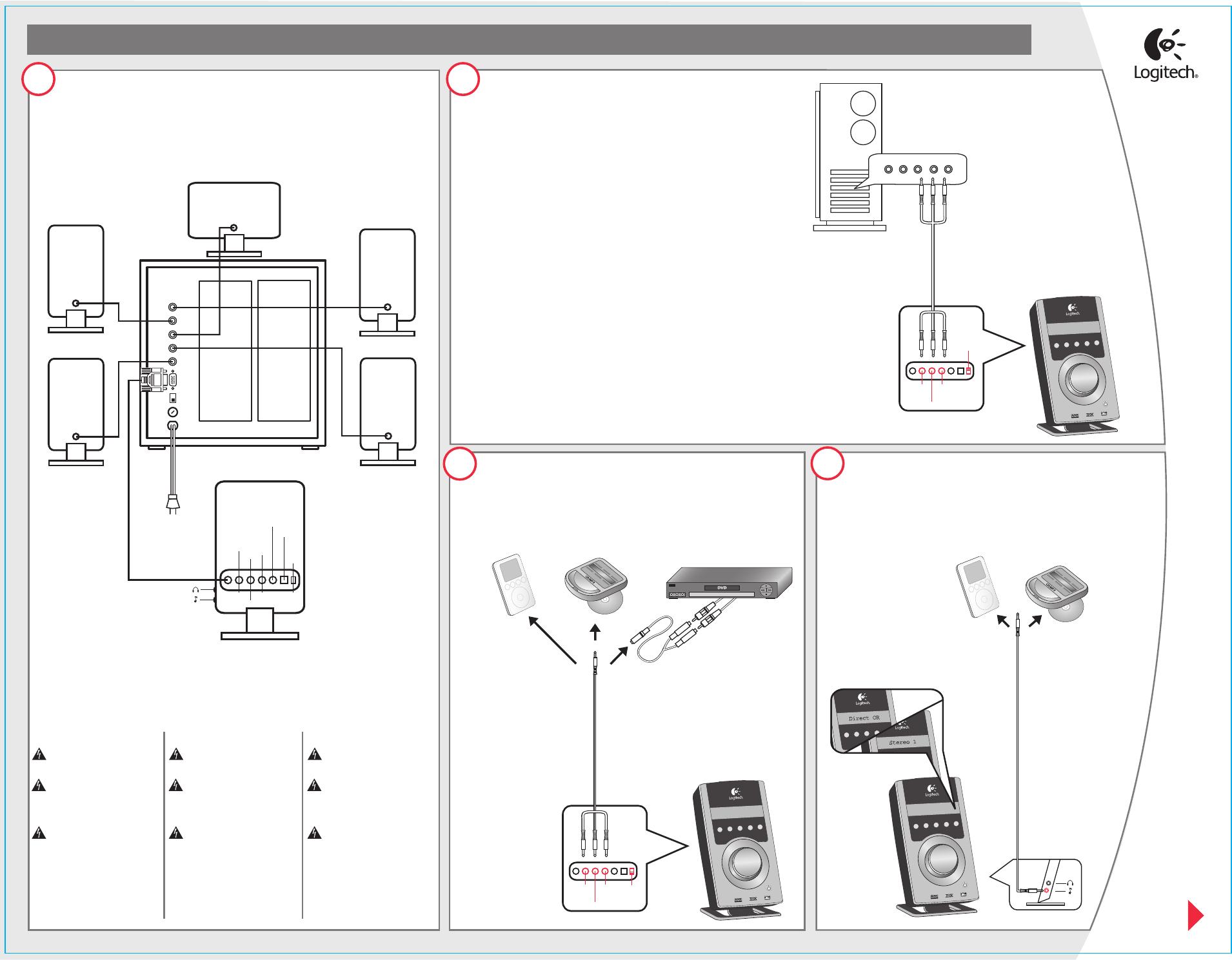 Manual Logitech Z-5500 (2 páginas) on logitech wireless optical mouse, logitech z 5300 specs, logitech wallpaper, logitech z-5300 manual, logitech computer speakers, logitech 5500 speakers, logitech mx518, logitech z-5300 sub box,